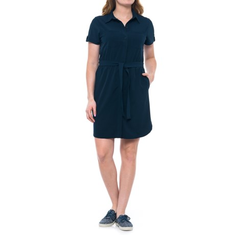 Freedom Trail Collared Belted Dress - Short Sleeve (For Women) in Navy