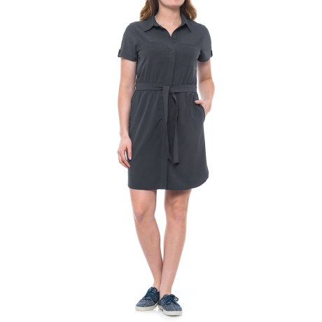 Freedom Trail Collared Belted Dress - Short Sleeve (For Women) in Slate
