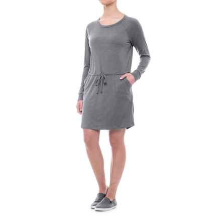 Freedom Trail Drawstring Waist Dress - Long Sleeve (For Women) in Charcoal - Closeouts