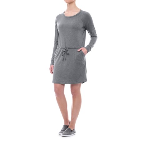Freedom Trail Drawstring Waist Dress - Long Sleeve (For Women) in Charcoal