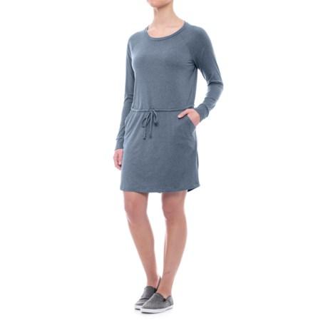 Freedom Trail Drawstring Waist Dress - Long Sleeve (For Women) in Navy
