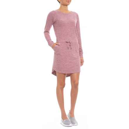 Freedom Trail Drawstring Waist Dress - Long Sleeve (For Women) in Rose Heather - Closeouts