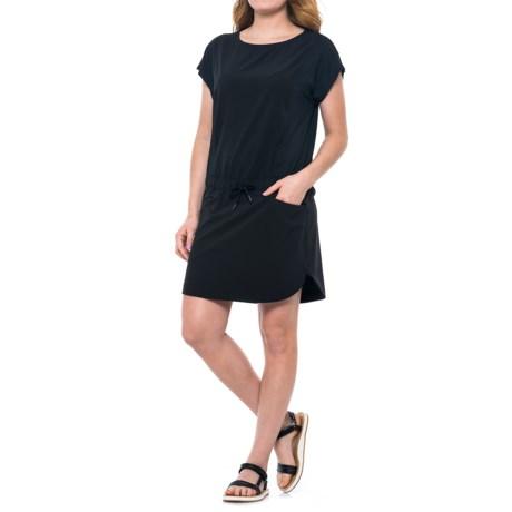 Freedom Trail Drawstring Waist Dress - Short Sleeve (For Women) in Black