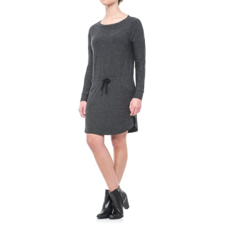 Freedom Trail Drop-Waist Drawstring Dress - Long Sleeve (For Women) in Charcoal Heather