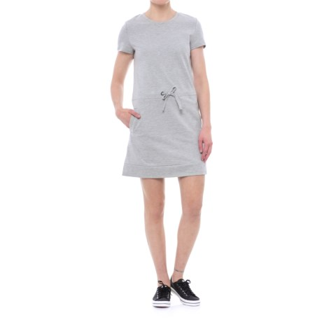 Freedom Trail French Terry Drawstring Dress - Short Sleeve (For Women) in Grey Mix