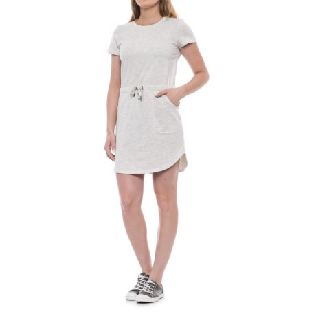 Freedom Trail French Terry Drawstring Dress - Short Sleeve (For Women) in Oatmeal Melange