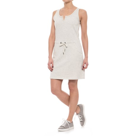 Freedom Trail French Terry Drawstring Dress - Sleeveless (For Women) in Oatmeal Melange