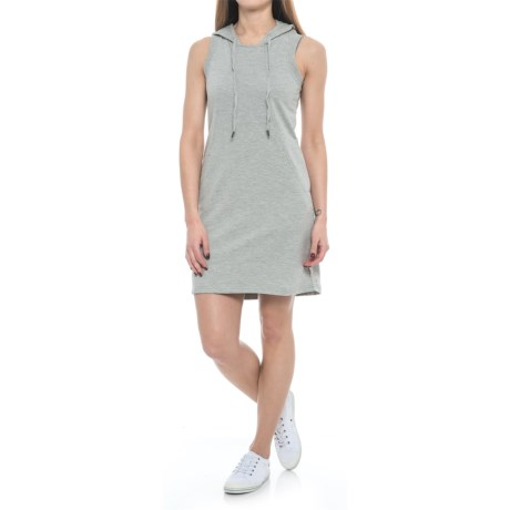 Freedom Trail French Terry Hoodie Dress - Sleeveless (For Women) in Grey Mix