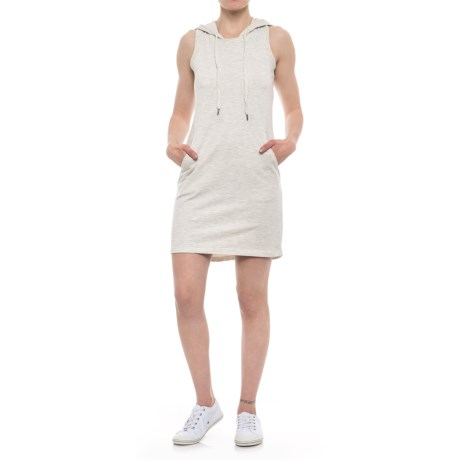 Freedom Trail French Terry Hoodie Dress - Sleeveless (For Women) in Oatmeal Mel