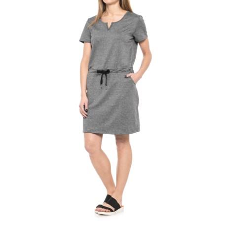 Freedom Trail French Terry Split Back Dress - Short Sleeve (For Women) in Charcoal Melange