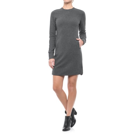 Freedom Trail Jacquard Dress - Long Sleeve (For Women) in Charcoal Melange