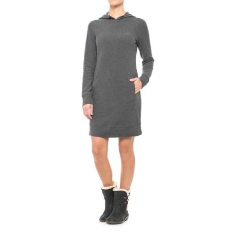 Freedom Trail Jacquard Hooded Dress - Long Sleeve (For Women) in Charcoal Melange