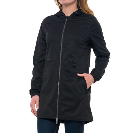 Freedom Trail Long Wind Jacket (For Women) in Black