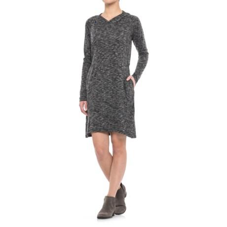 Freedom Trail Melange Hooded Dress - Long Sleeve (For Women) in Black Melange