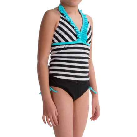Freestyle Graphic Stripes Tankini Set (For Big Girls) in Turquoise - Closeouts