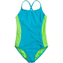 Freestyle Pop One-Piece Swimsuit - X-Back (For Little Girls) in Turquoise - Closeouts