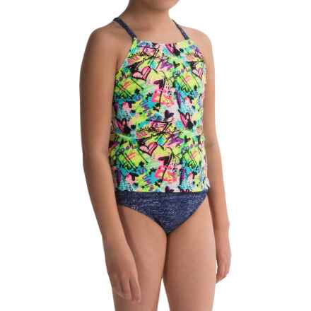 Freestyle Rebel Girl Tankini Set - Fully Lined (For Big Girls) in Denim - Closeouts