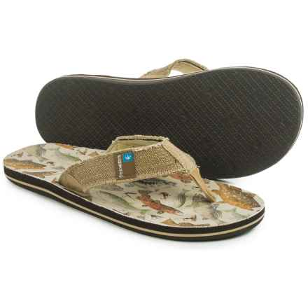 Freewaters Palapa Printed Flip-Flops (For Men) in Fresh Water Fish Print - Closeouts