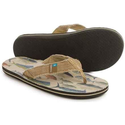Freewaters Palapa Printed Flip-Flops (For Men) in Salt Water Fish Print - Closeouts