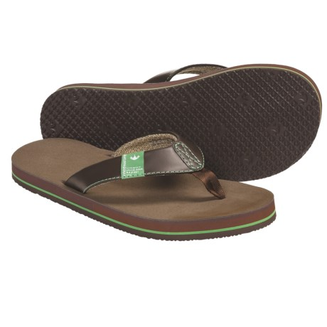 Freewaters Soul Train Sandals - Flip-Flops (For Men) in Brown/Green