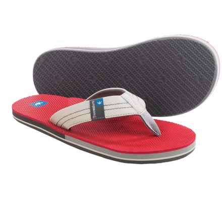 Freewaters The Dude Sandals - Flip-Flops (For Men) in Light Grey/Red - Closeouts