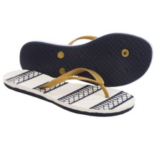 Freewaters Tropea Print Flip-Flops (For Women) in Gold/Navy Print - Closeouts
