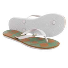 Freewaters Tropea Print Flip-Flops (For Women) in White/Teal Print - Closeouts