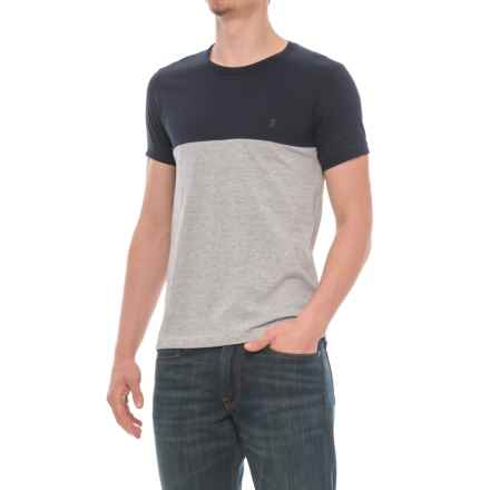 French Connection Color-Block T-Shirt - Short Sleeve (For Men) in Marine Light Grey Melange - Closeouts