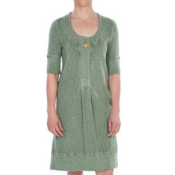 French Terry Dress - Slub Cotton, Elbow Sleeve (For Women) in Black