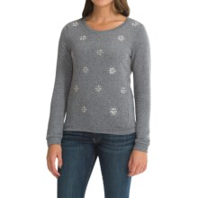 French Terry Embellished Sweater (For Women) in Black Pearl - 2nds