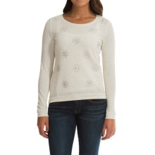 French Terry Embellished Sweater (For Women) in Oatmeal - 2nds