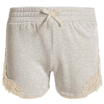 French Terry Lace-Accent Shorts (For Big Girls) in Cement - Closeouts