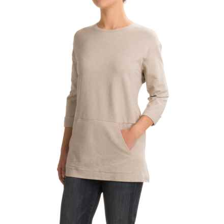 French Terry Pouch Pocket Tunic Shirt - Scoop Neck, Long Sleeve (For Women) in Grey - 2nds