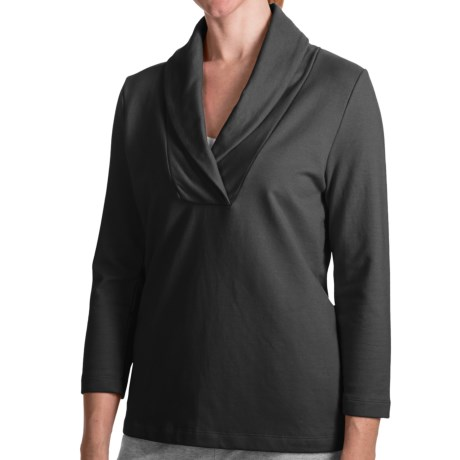French Terry Shirt - Shawl Collar, 3/4 Sleeve (For Women) in Black