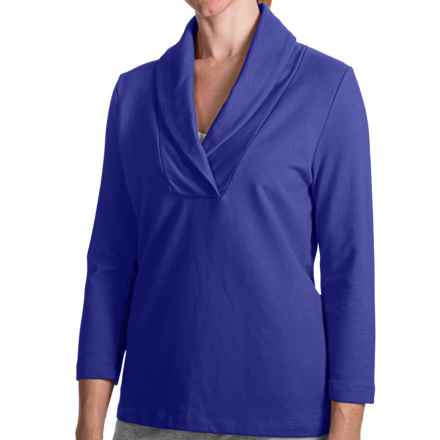 French Terry Shirt - Shawl Collar, 3/4 Sleeve (For Women) in Royal - 2nds