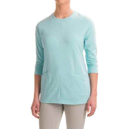 French Terry Tunic Shirt - 3/4 Sleeve (For Women) in Blue - 2nds