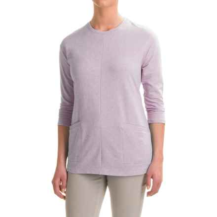 French Terry Tunic Shirt - 3/4 Sleeve (For Women) in Purple - 2nds