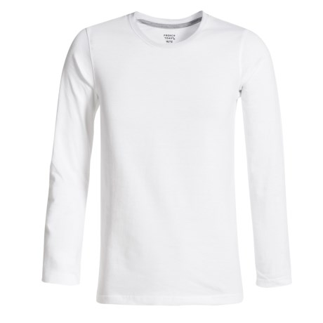 French Toast Basic T-Shirt - Crew Neck, Long Sleeve (For Big Boys) in White