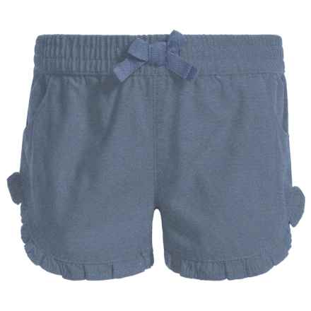 French Toast Chambray Ruffle Shorts (For Little Girls) in Washed Chambray - Closeouts