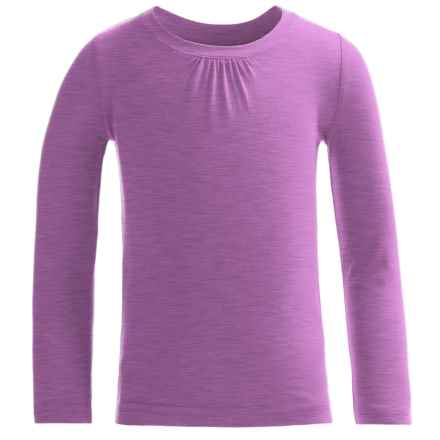 French Toast Crew Shirt - Long Sleeve (For Little and Big Girls) in Purple Heather - Closeouts