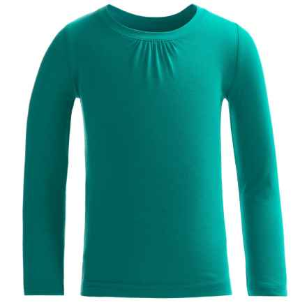 French Toast Crew Shirt - Long Sleeve (For Little and Big Girls) in Turquoise/Aqua - Closeouts