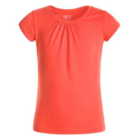 French Toast Gathered T-Shirt - Short Sleeve (For Little Girls) in Bright Orange - Closeouts