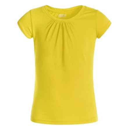 French Toast Gathered T-Shirt - Short Sleeve (For Little Girls) in Yellow - Closeouts