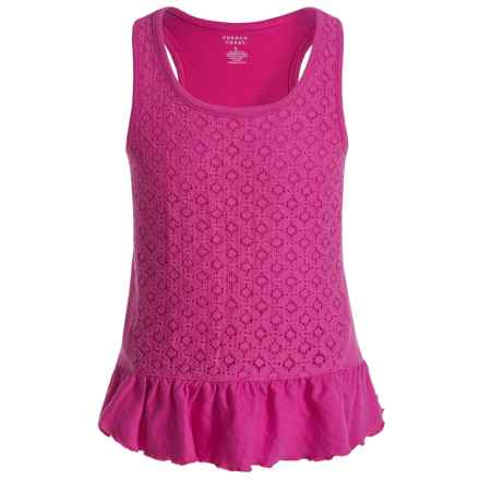 French Toast Lace Ruffle Tank Top - Racerback (For Little Girls) in Medium Pink - Closeouts