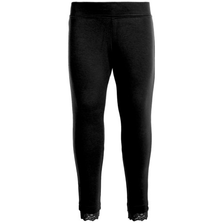 French Toast Lace Trim Leggings (For Little and Big Girls) in Black