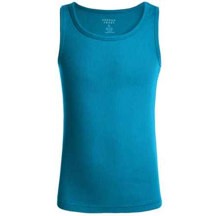 French Toast Rib Tank Top (For Little Girls) in Medium Blue - Closeouts