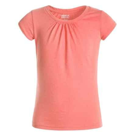 French Toast Ruched-Neck T-Shirt - Short Sleeve (For Big Girls) in Peach - Closeouts