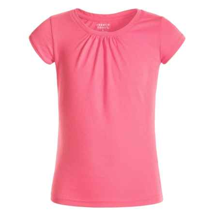 French Toast Ruched-Neck T-Shirt - Short Sleeve (For Big Girls) in Pink - Closeouts