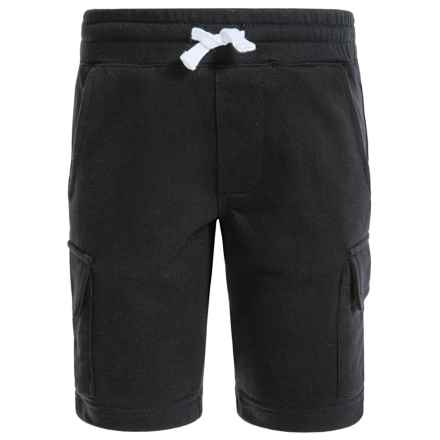 French Toast Terry Cargo Shorts (For Big Boys) in Black - Closeouts