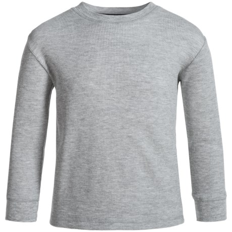 French Toast Thermal Crew Shirt - Long Sleeve (For Little and Big Boys) in School Heather Gray